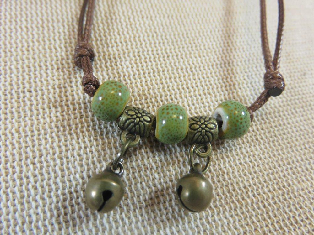Bracelet Bohème - bijoux Femme - bracelet perles céramique et clochette