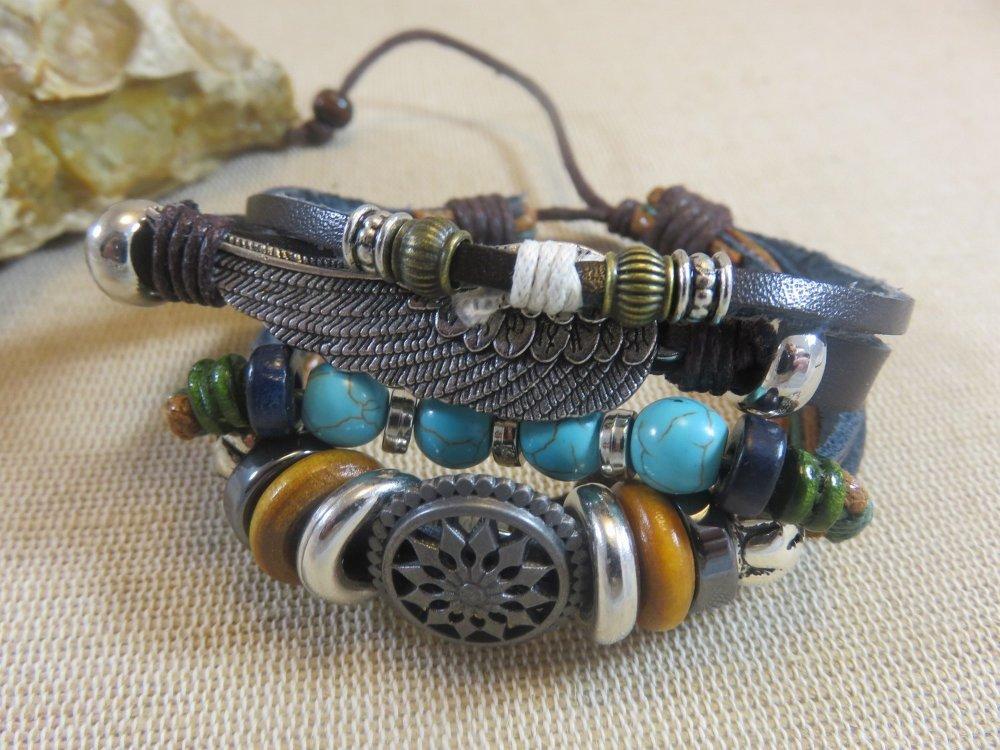 Bracelet Amérindien aile et perles bijoux réglable femme