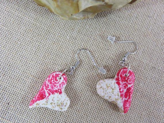 Boucles d'oreille cœur fimo bijoux femme fille saint valentin