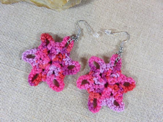 Boucles d'oreilles bijoux au crochet coton degradé rose boucle d'oreille etoile flocon bijoux textile femme fille
