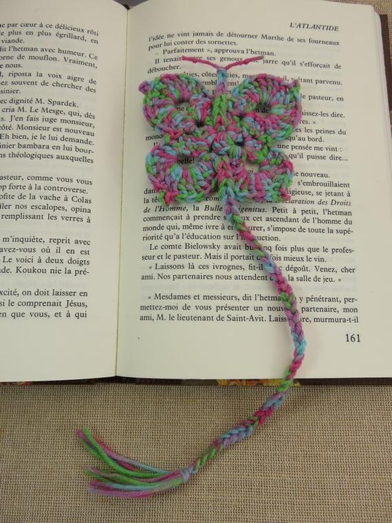 Marque-pages papillon au crochet Arc-en-Ciel bijoux livre marque pages 100% coton fait-main
