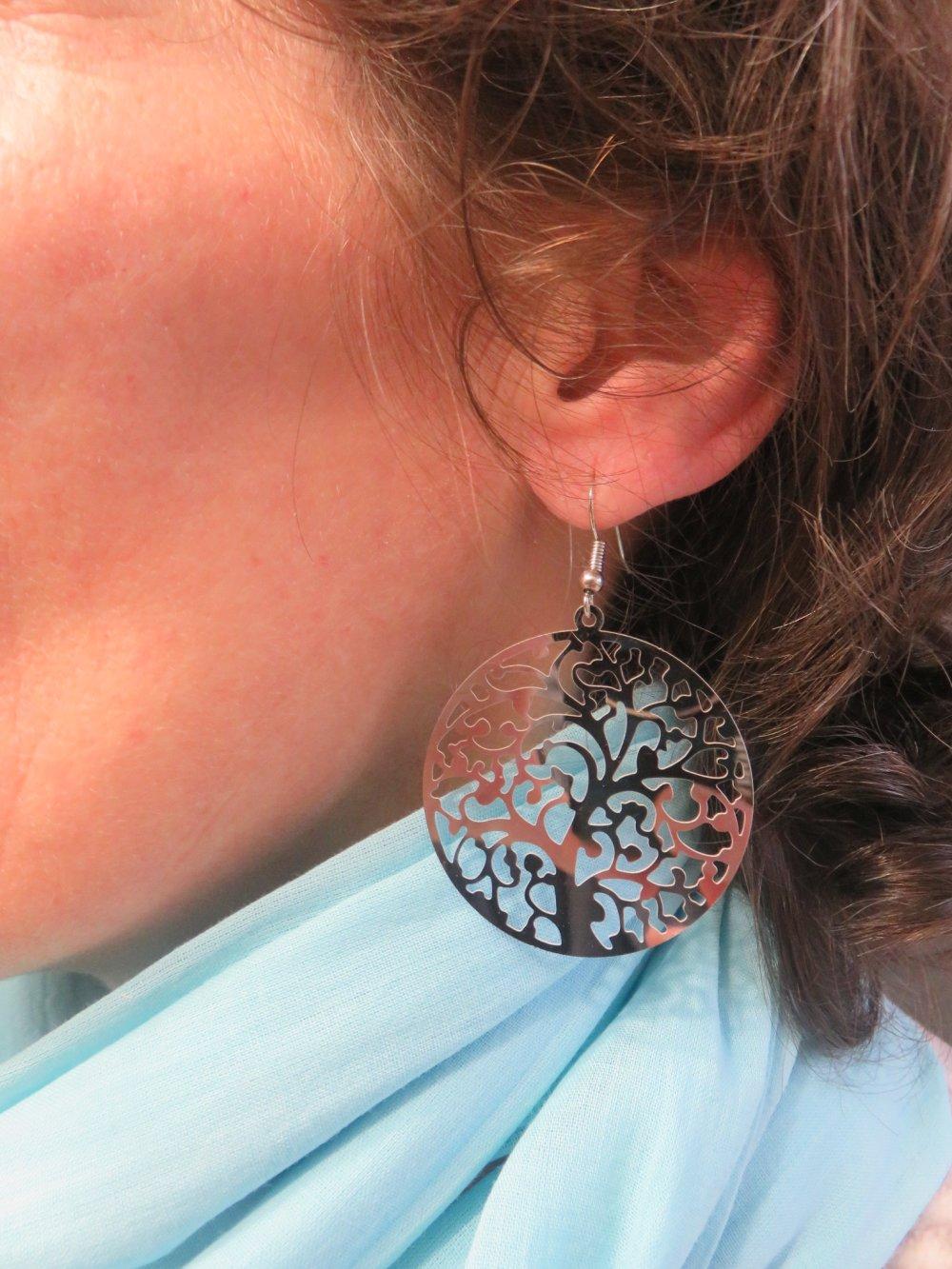 Boucles d'oreille Arbre de Vie estampe filigrané argenté bijoux femme