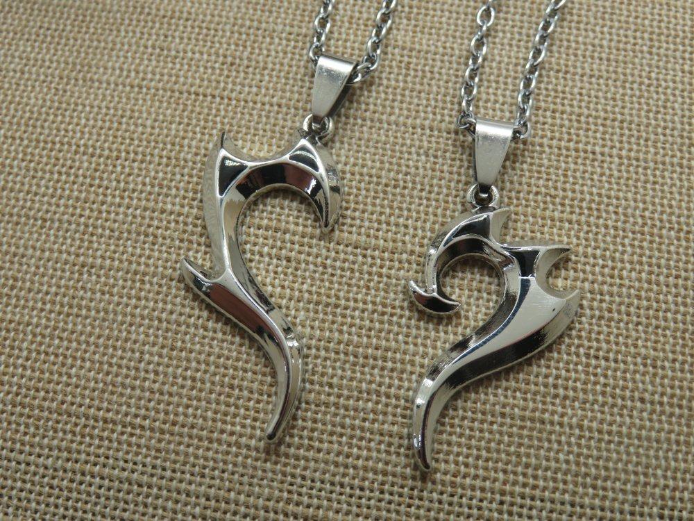 Collier de couple cœur tribal métal inoxydable argenté - bijoux pour couple