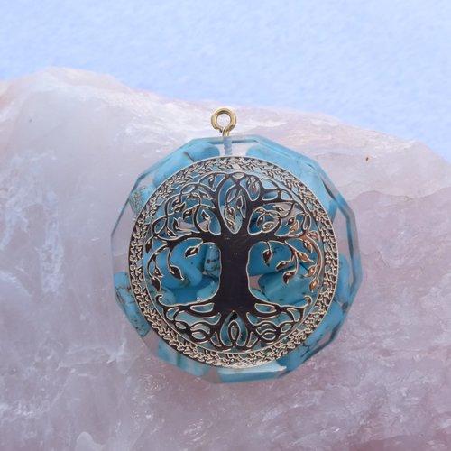 Orgonite pendentif energetique arbre  de vie geometrie sacree
