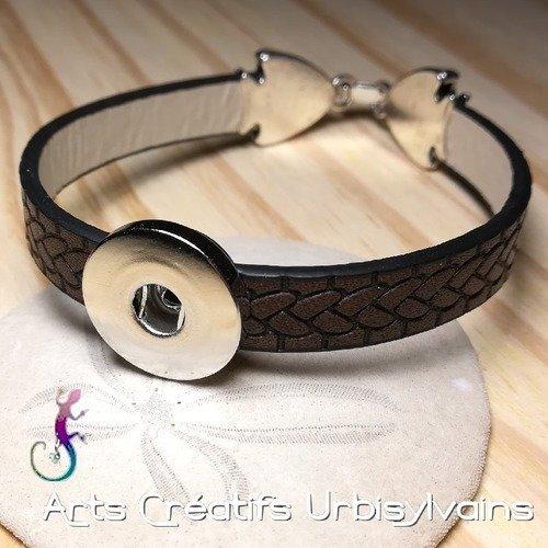 Bracelet en cuir marron avec fermoir clip poissons et support pour bouton snap