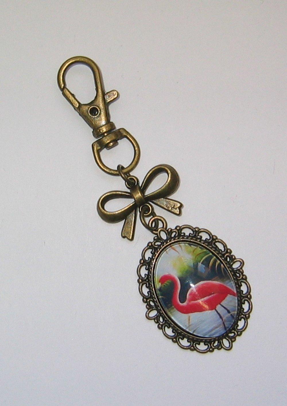 Porte clés-bijou de sac cabochon verre 18x25mm