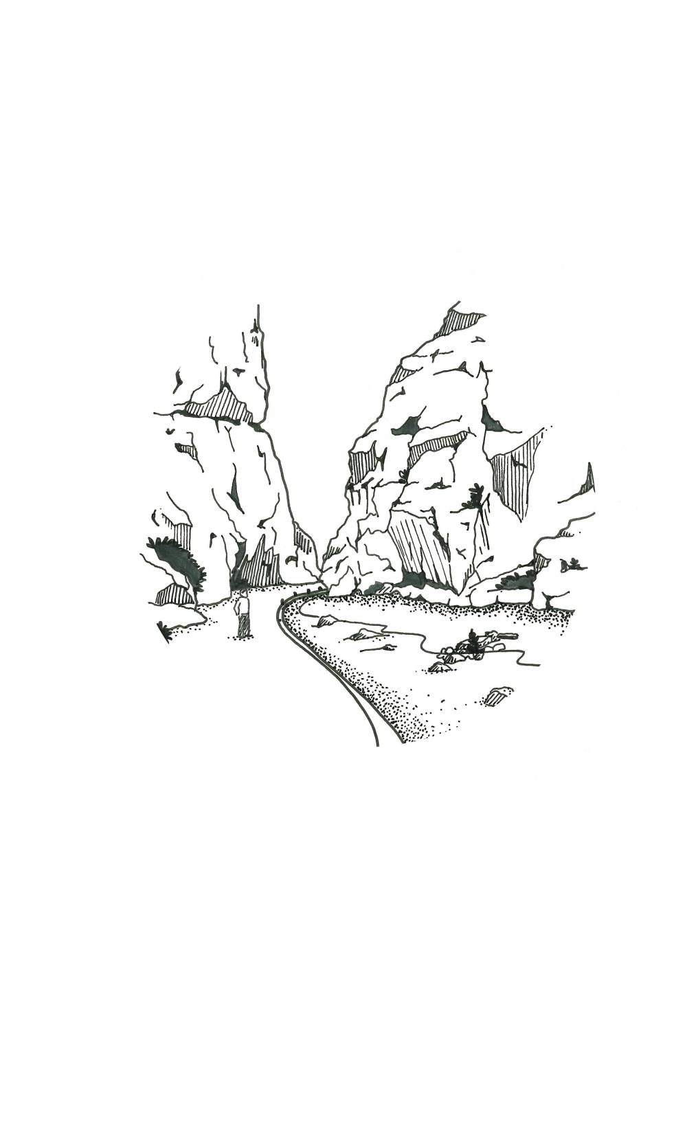 Illustration Noir & Blanc • Gorges du Toudra • Maroc