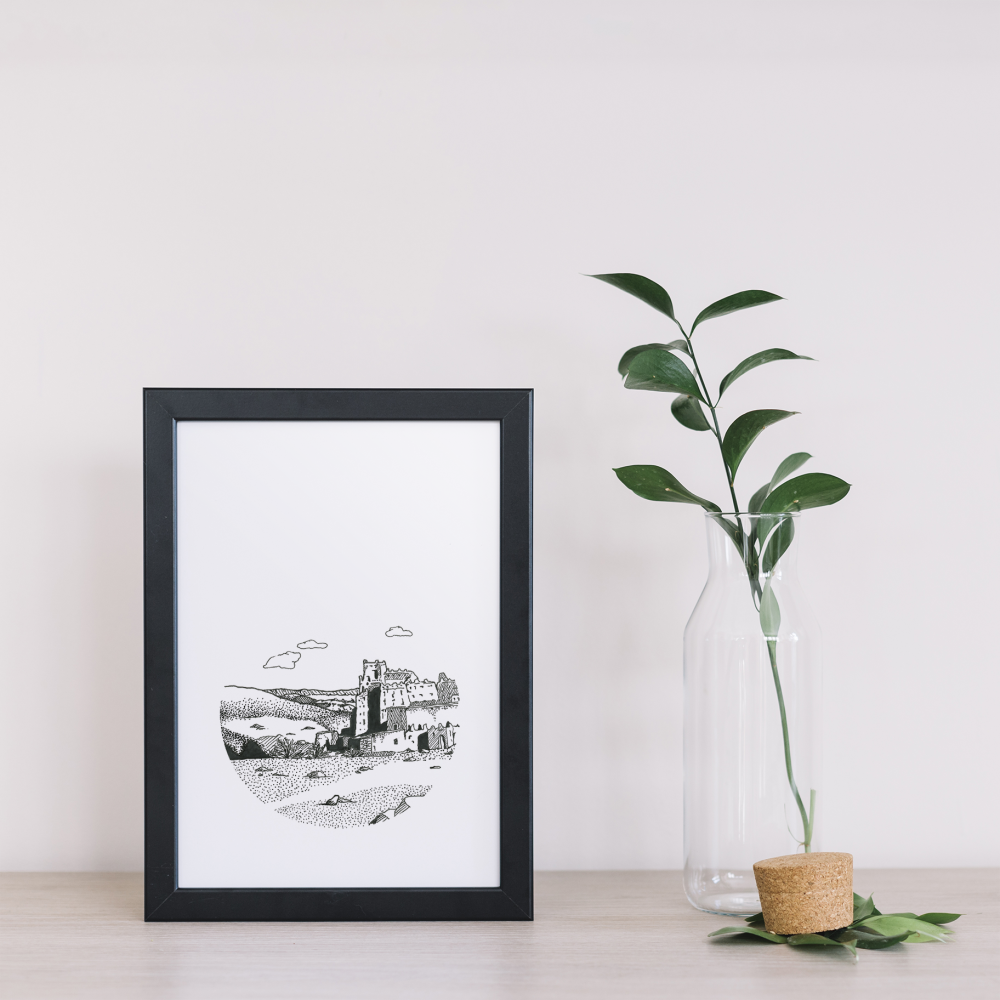 Illustration10x 15 cm Noir & Blanc • Kasbah Aït Ben Haddou • Maroc 10x 15 cm