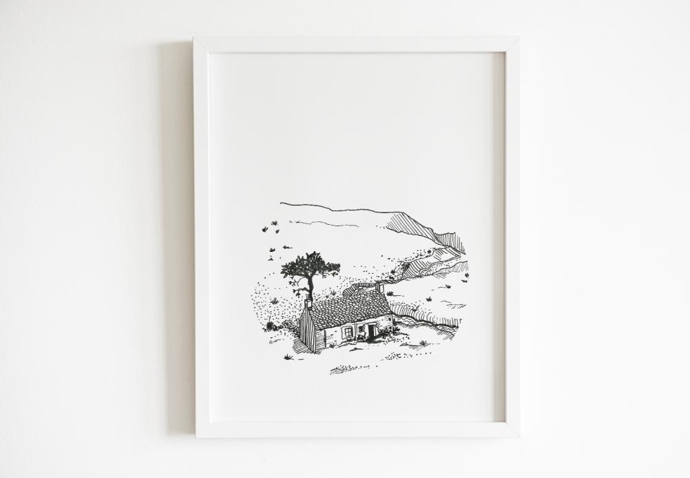 Illustration 10x 15 cm Noir & Blanc • Loch Ewe • Ecosse