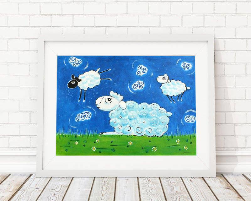 Moutons - peinture graphique à l'acrylique sur papier