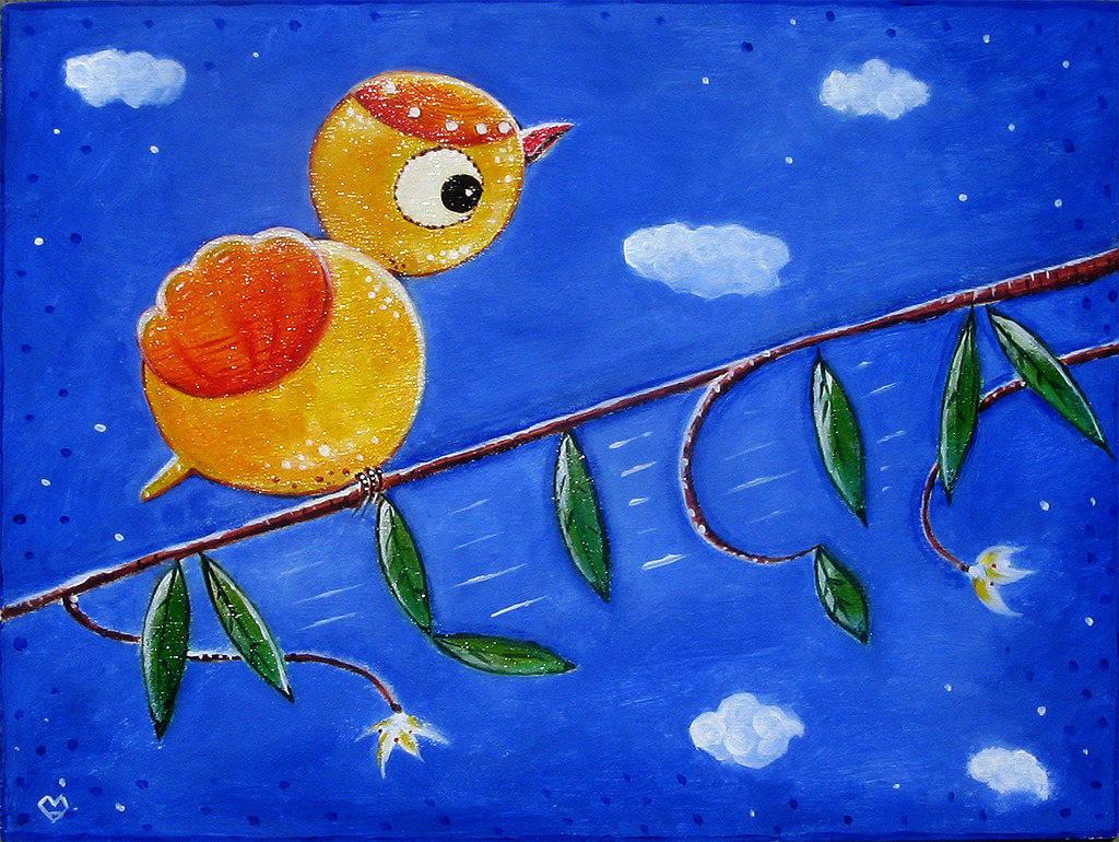 Petit oiseau sur la branche - peinture personnalisable à l'acrylique sur bois