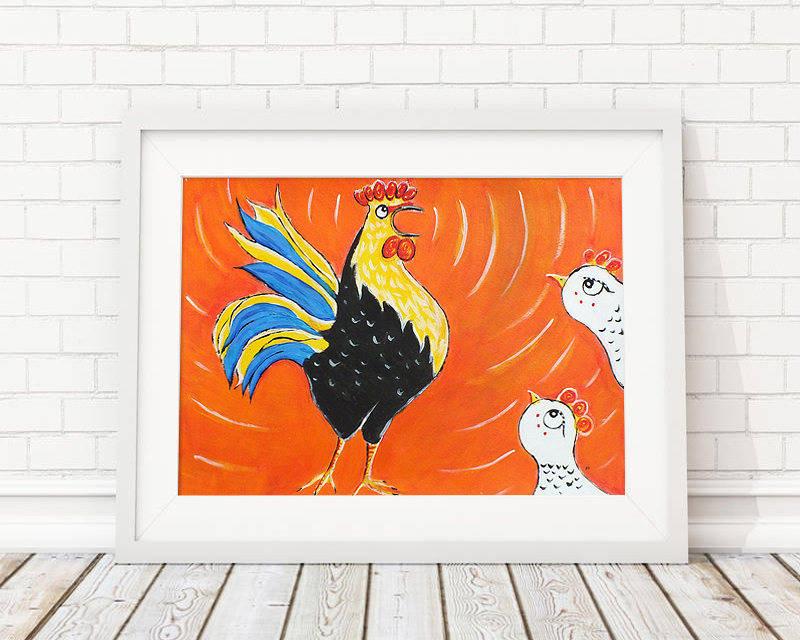 Coq - peinture graphique à l'acrylique sur papier