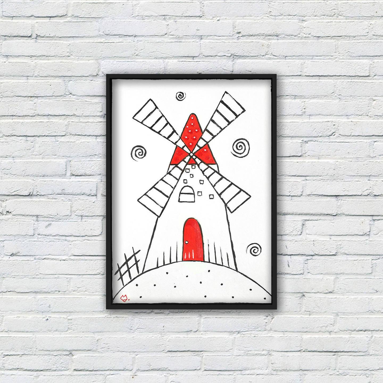 Moulin rouge et blanc - peinture graphique à l'acrylique sur papier