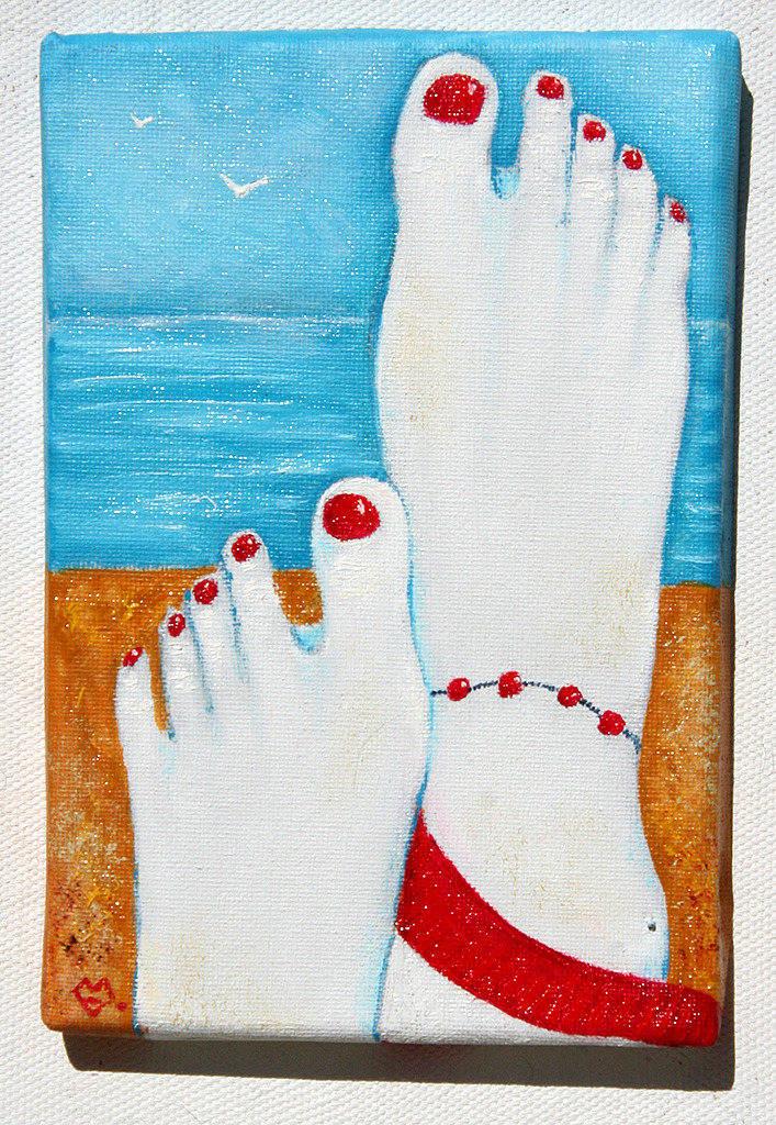 Detente - petit tableau à la peinture à l'huile sur toile