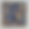 Tableau techniques mixtes  #tweed  #20 x 20 cm  bleu or bleu de prusse ocre