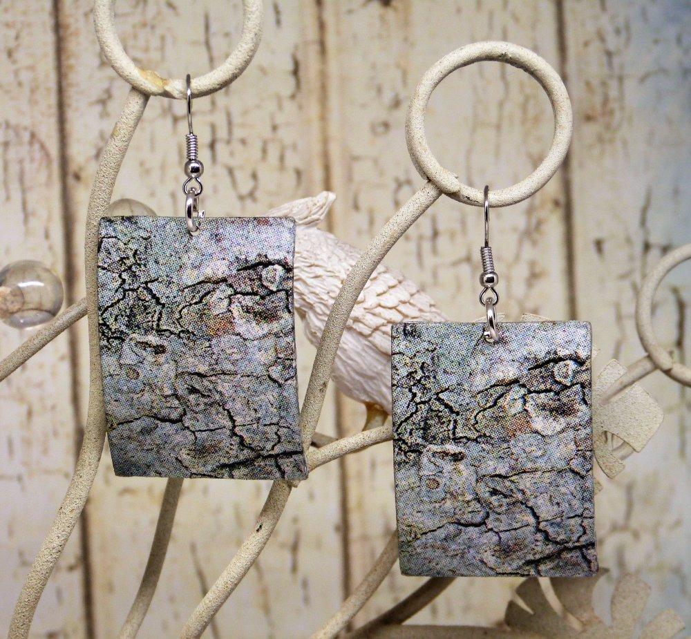 Boucles d'oreilles pendantes de forme rectangulaire, motif écorce de bois,