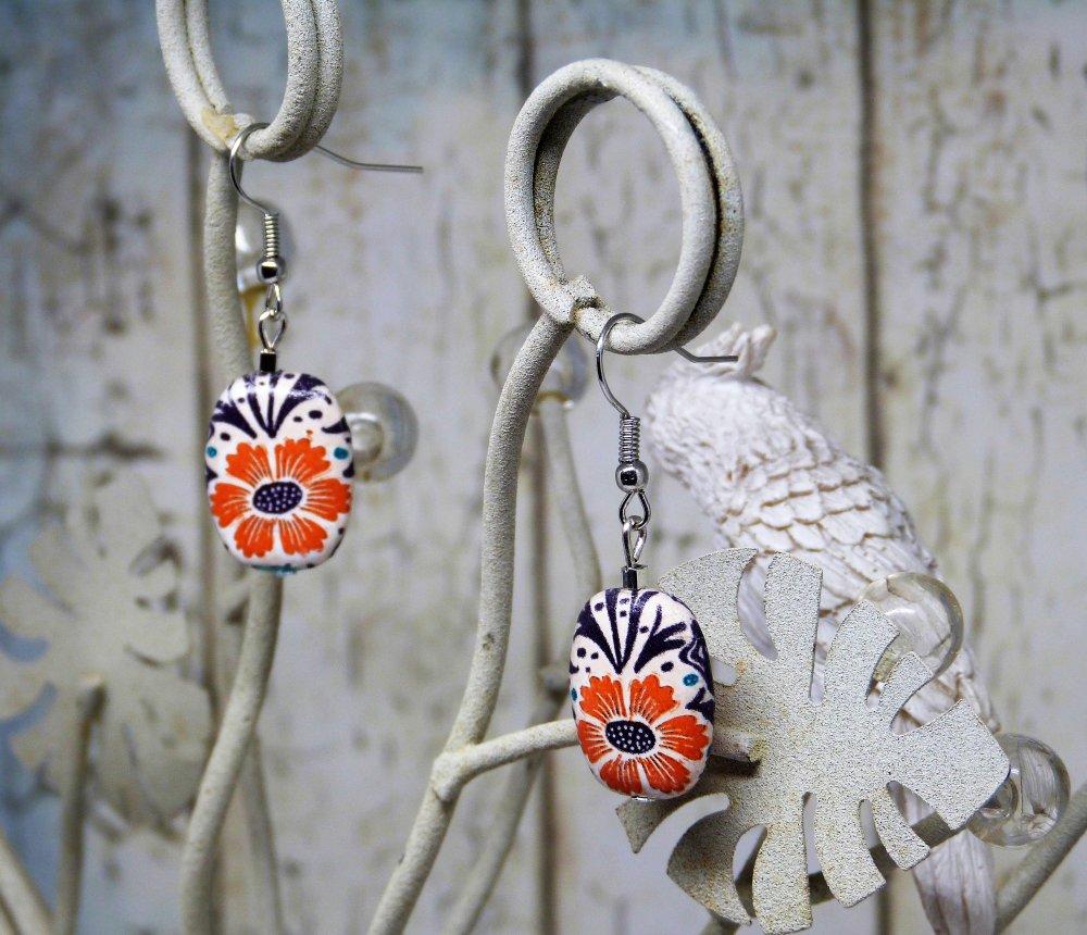 Boucles d'oreilles motif fleur