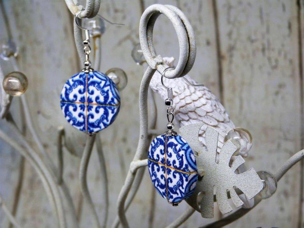 Boucles d'oreilles ronde motif floral