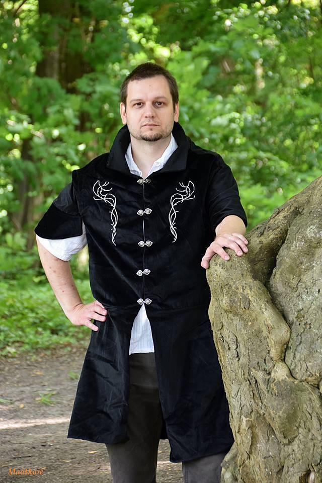 Veste Elfique homme, veste pour archer, pourpoint médiéval brodé