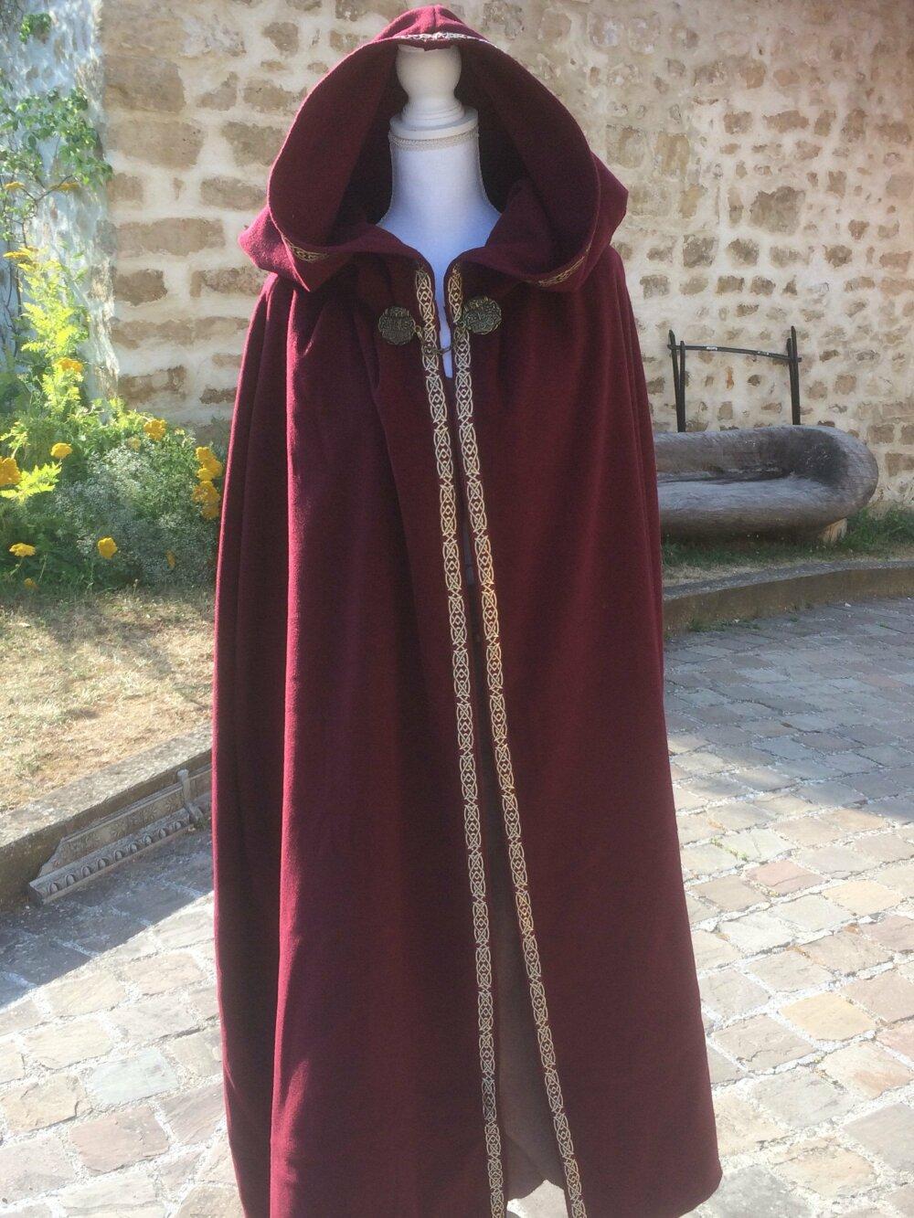 Cape médiévale en laine pour costume viking ou celtique pour homme ou femme fabrication française