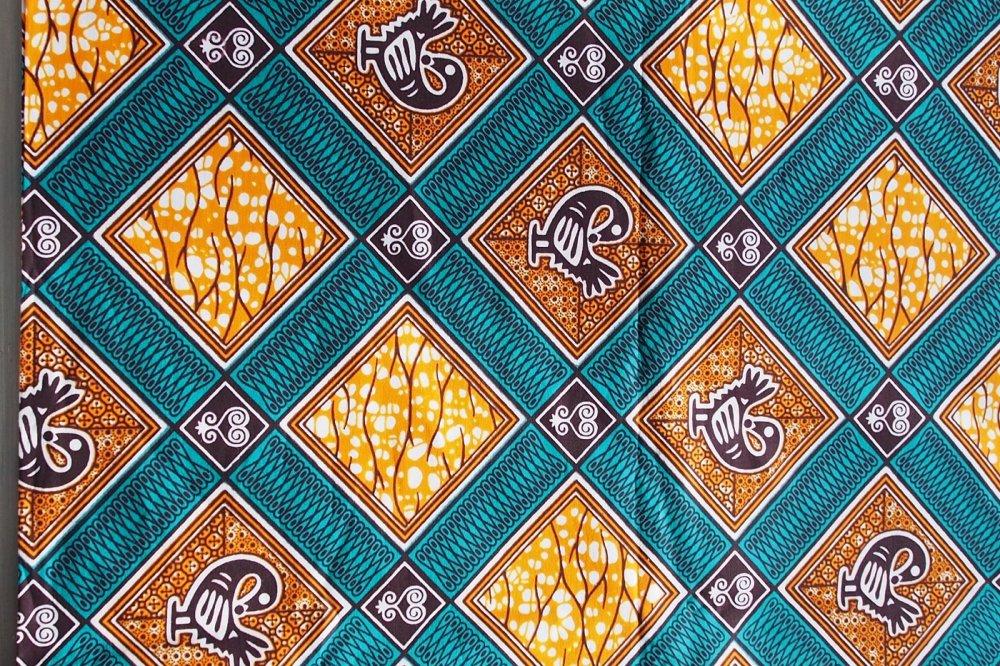 LOT de 3 coupons en TISSU WAX Suprème -0m83 - 918-27 tons jaune,feu, turquoise, orange