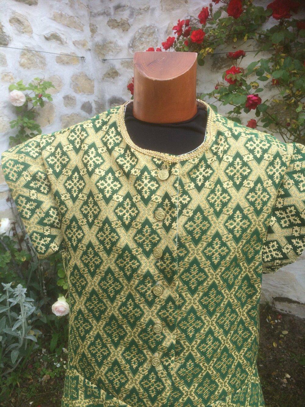 Pourpoint, veste homme pour noble médiéval, vert et doré