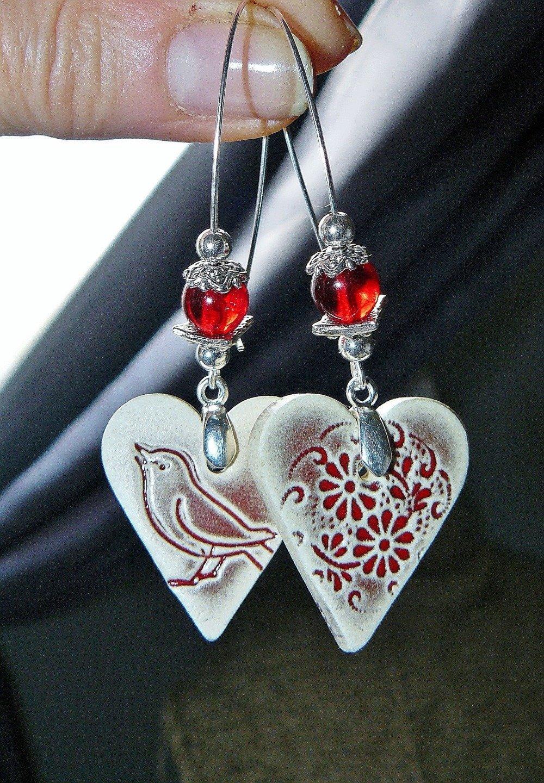 UN PRINTEMPS JOLI ✿ Boucles d'oreilles style bohème, romantique, féerique, faïence, verre de Bohème, plaqué argent - Idée cadeau