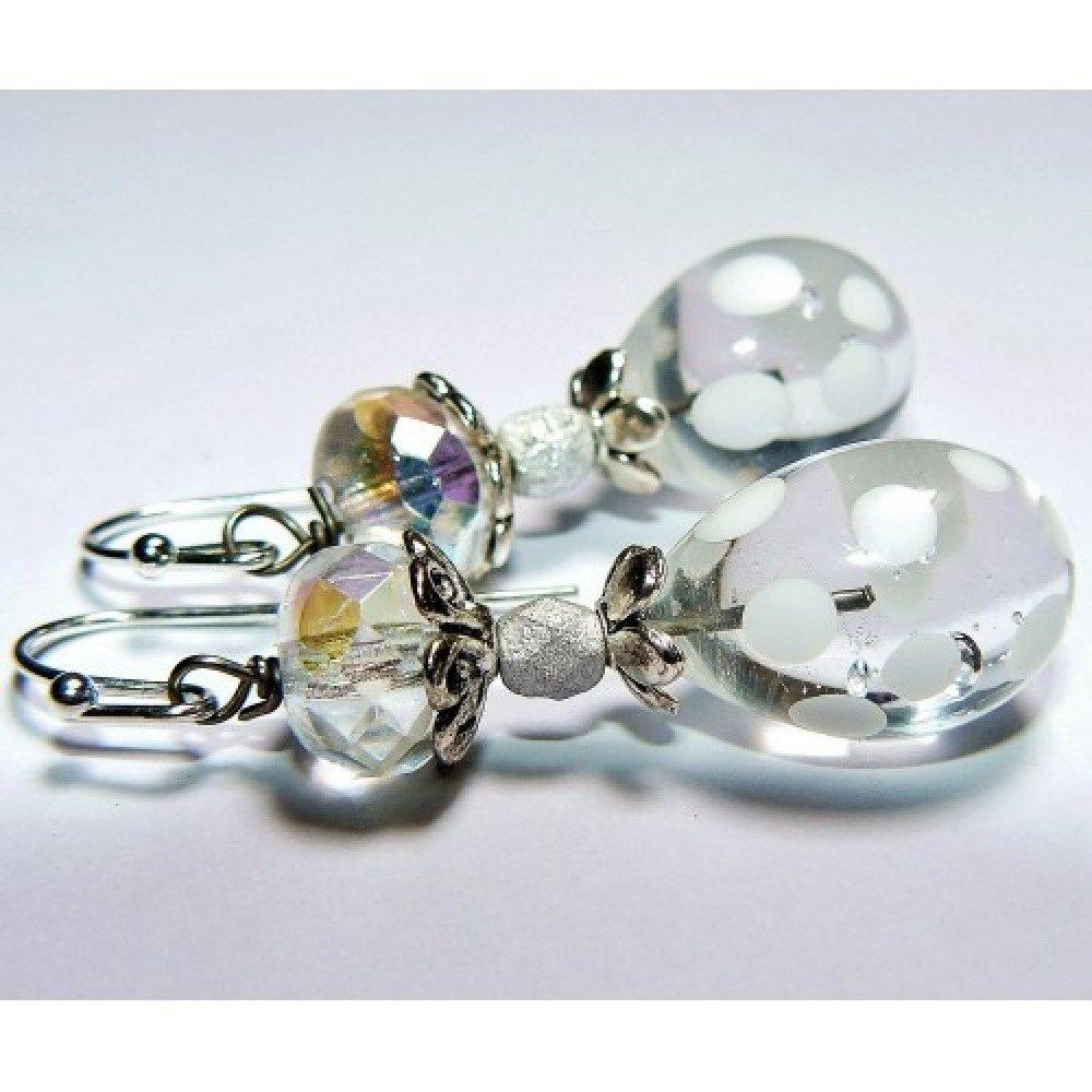 LES PETITS POIS ✿ Boucles d'oreilles bohème, romantique, féerique, verre filé, verre de Bohême, plaqué argent - Idée cadeau