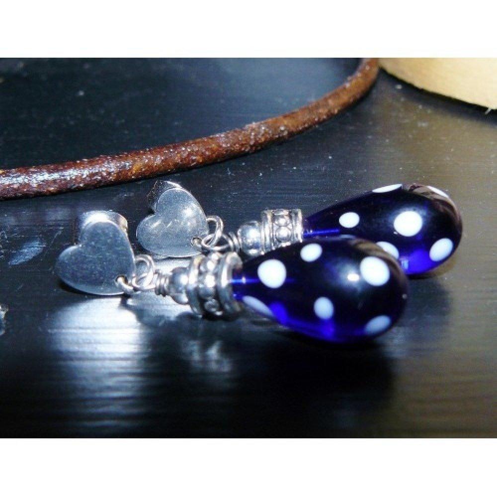 LES GOUTTES D'OCÉAN ✿ Boucles d'oreilles bohème chic, romantique, verre filé, acier inoxydable - Idée cadeau Fêtes des Mères