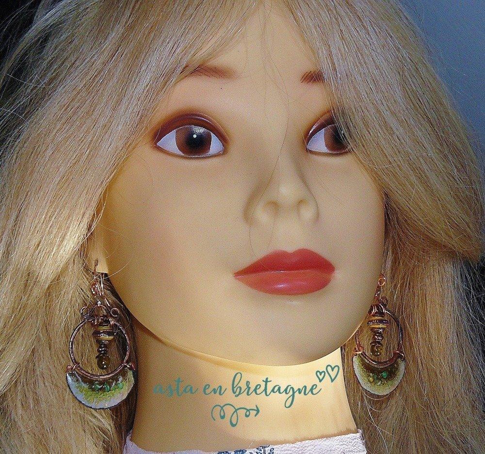 EN HARMONIE ✿ Boucles d'oreilles bohème chic, ethniques, hippies - cuivre émaillé, verre filé, perles en papier - Idée cadeau