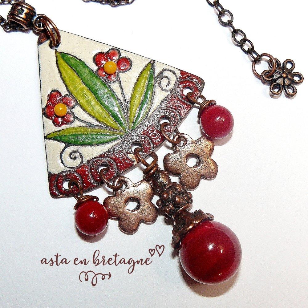 VENDU ♥ FLEURETTES ♥ Collier bohème-chic, Haute Fantaisie, artisanal, émaux d'art et verre filé - Idée cadeau pour elle