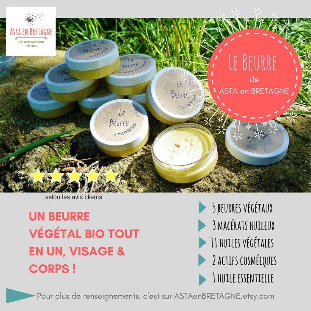 LE BEURRE de Asta en Bretagne, soin végan visage et corps bio  50 ml - Idée cadeau h/f