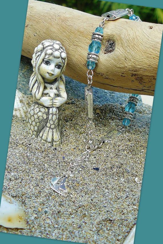 VENDU - Aquamarine ✿ Bracelet Argent & Argent tibétain