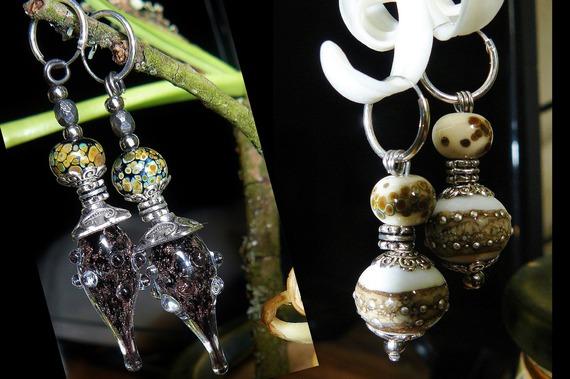VENDU - Duo (2 créoles + 4 breloques) ✿ Boucles d'oreilles - Bijoux de créateur