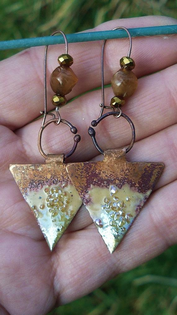VENDU - Triangle d'Or ✿ Boucles d'oreilles - Bijoux de créateur