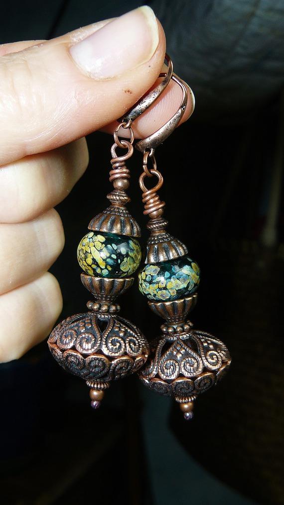 VENDU - Mers d'Orient ✿ Boucles d'oreilles - Bijoux de créateur