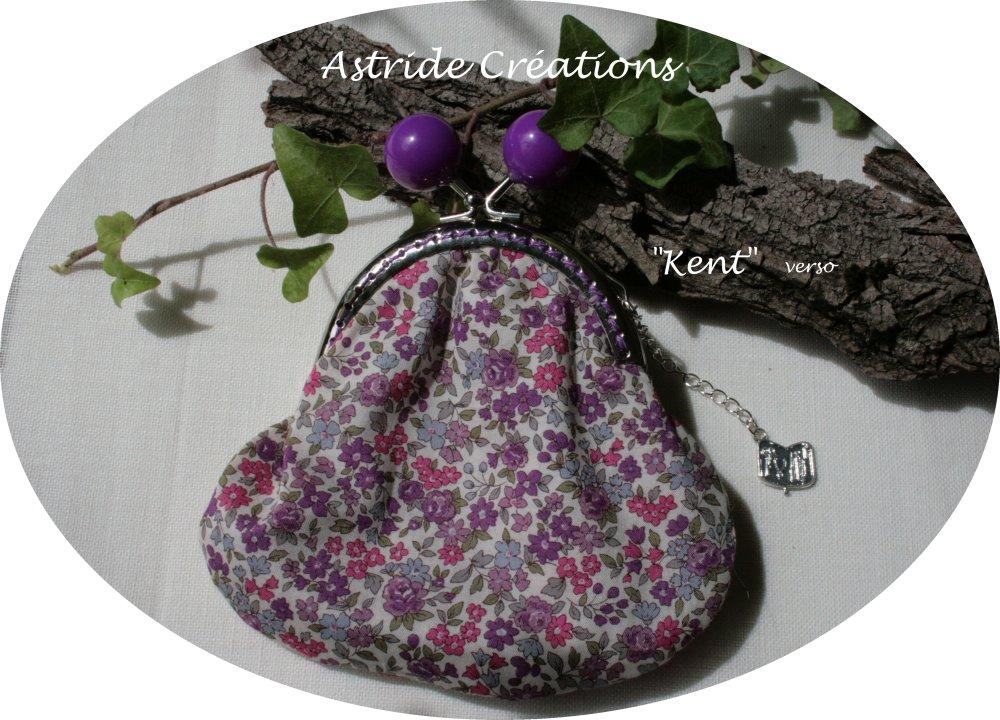 """""""Kent"""", porte-monnaie en tissu Liberty mauve/violet/rouge."""