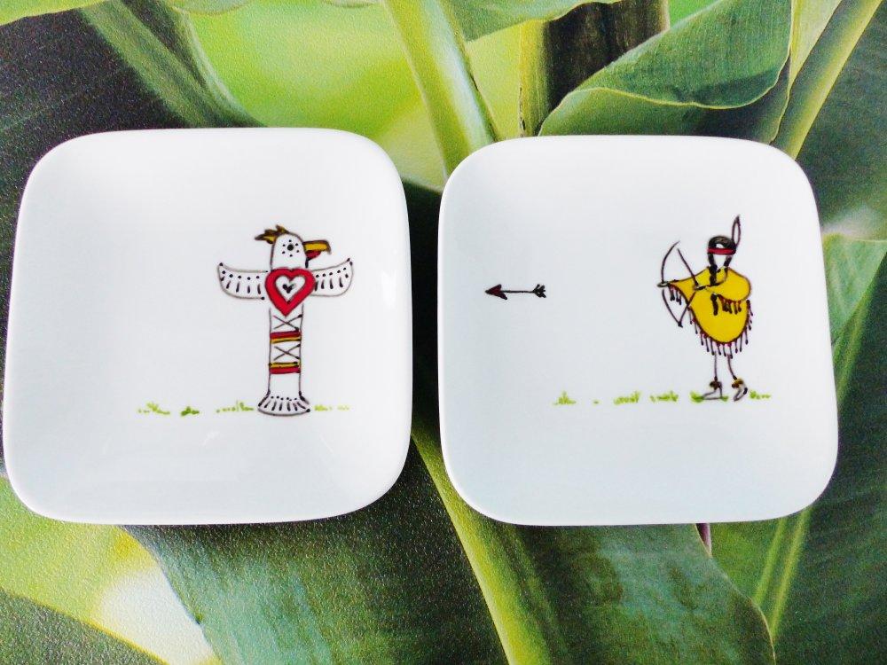 2 coupelle carré indienne et son totem indien flêche coeur mini plat assiette  peint à la main