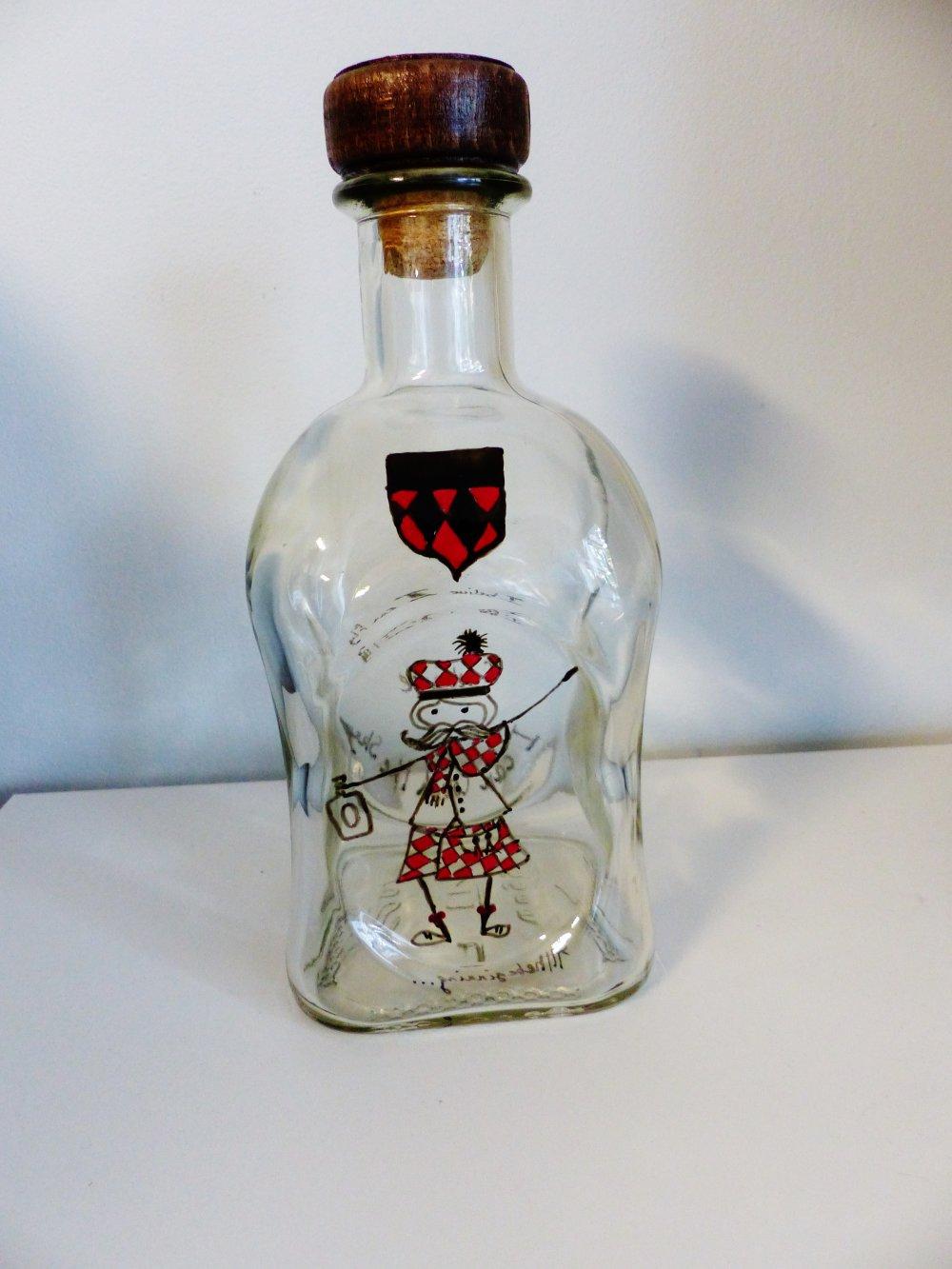 bouteille, carafe,  whisky, alcool, ECOSSAIS, verre peint à la main