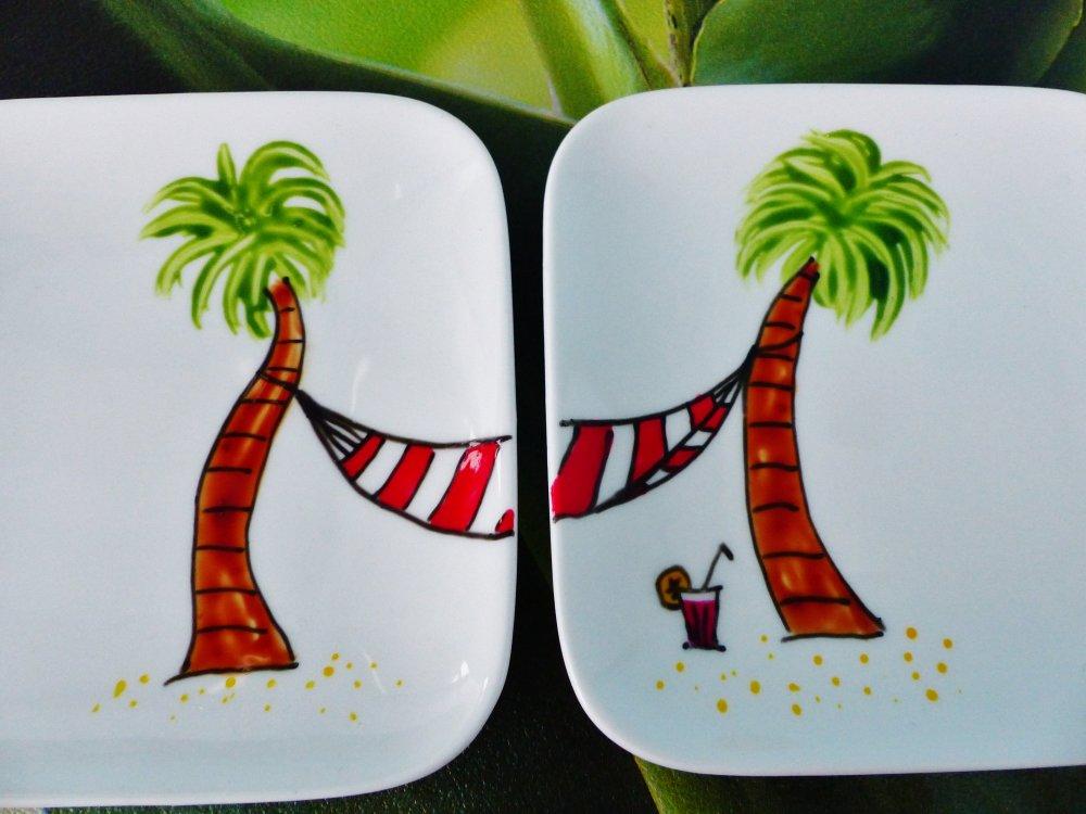 2 coupelle carré vacances la plage palmier et hamac mini plat assiette  peint à la main