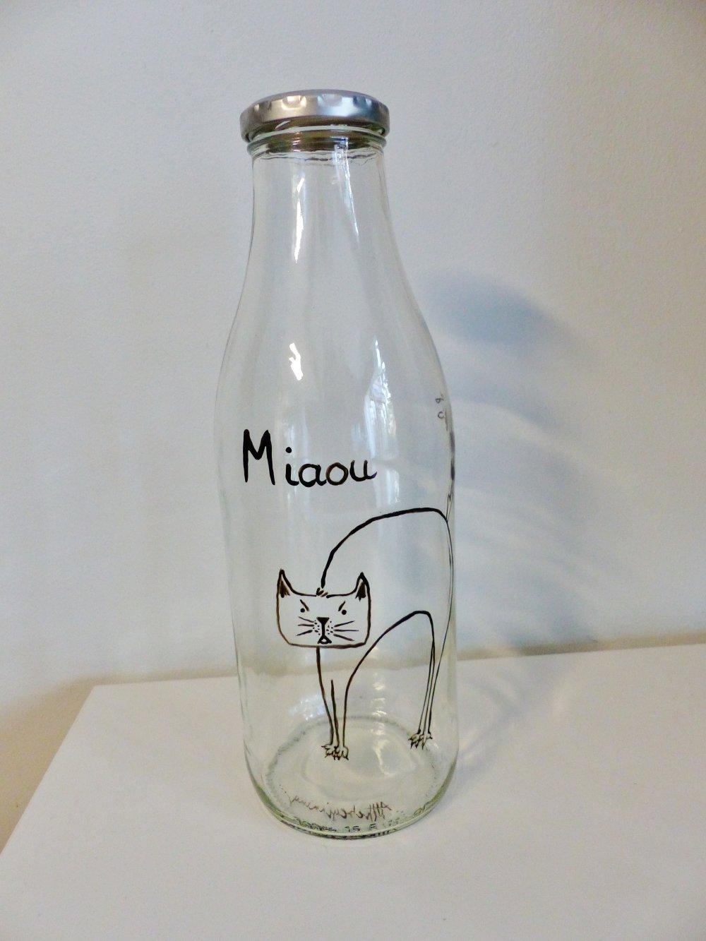 bouteille, carafe, CHAT, Miaou, carafe d'eau, bouteille de lait,  peint à la main