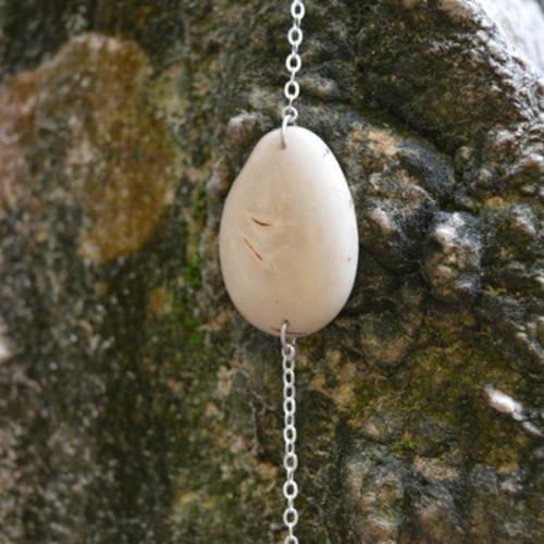 Bracelet  - argent et ivoire végétale