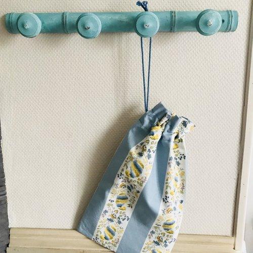 Porte manteaux style  shabby bleu + 1 pochon offert