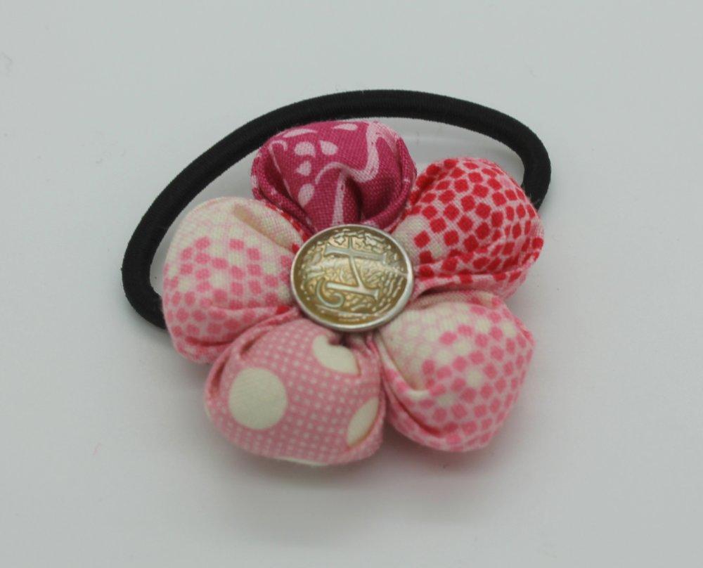 ELASTIQUE A CHEVEUX FLEUR TISSU Tilda,fait main,kanzashi,bijou,bouton,accessoire cheveux,cadeau pour elle,anniversaire,Noël,fille,femme