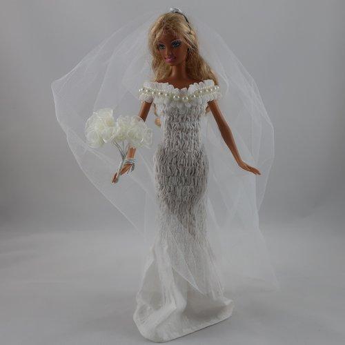 """Vêtements pour poupée barbie - """"robe de mariée"""""""
