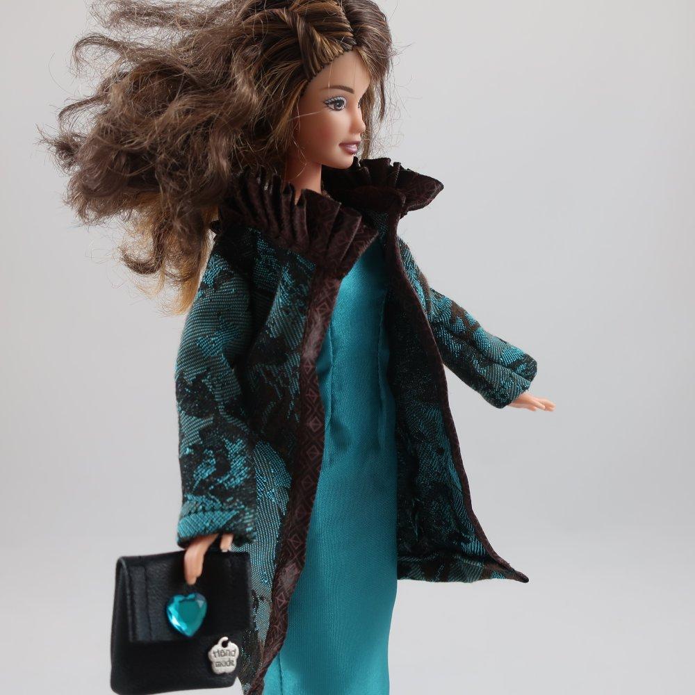 """Vêtements pour poupée Barbie - """"Manteau fantaisie et robe longue"""""""