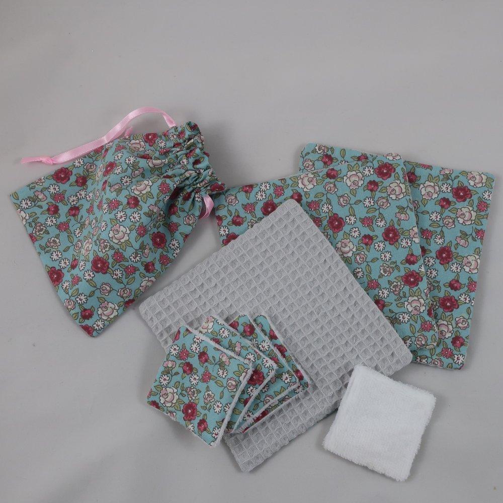 """Lot 8 lingettes : 5 (6,5cmX6,5cm) et 3 (15cmX15cm) coton/éponge bambou/nid d'abeille et petit sac de rangement - Objectif """"Zéro déchet"""""""