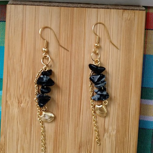 Boucles d'oreilles pendantes pierres chips obsidienne flocon de neige, mouchetée