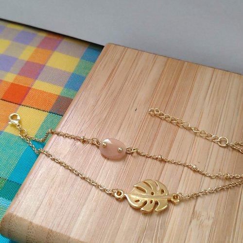 Bracelets double chaîne pendentif monstera et pierre pierre de lune rose