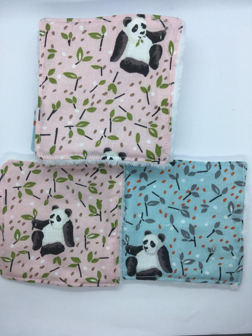 Lot de lingettes panda rose et bleu